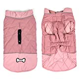 Idepet Waterproof Dog Coat Winter Warm Jacket Vest,Windproof Snowsuit Dog Clothes Outfit Vest Pets Apparel for Small Medium Large Dogs with Harness Hole pink M