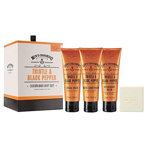 Men's Grooming by Scottish Fine Soaps Thistle & Black Pepper Luxurious Gift Set