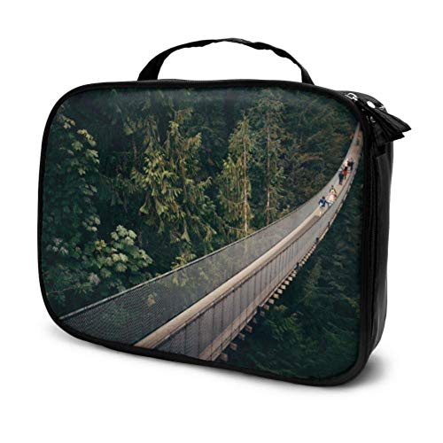 Areial View of Suspension Bridge Travel Baby Make Up Bag Girls Hanging Toiletry Bag Cases Makeup Multifunction Printed Pouch for Women