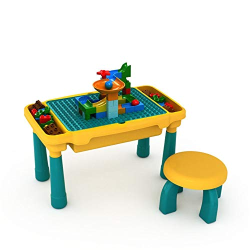 Kids Multi Activity Table Set Multi-Purpose Building Blocks Activity Play Table and 1 Chairs Set Building Block Table (Color : Multi-colored, Size : One szie)
