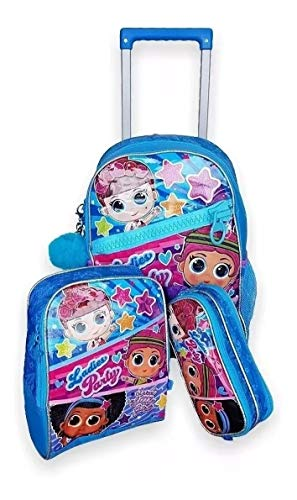 Kit Mochila Infantil Lol Ladies Party Rodinhas G Azul Clio