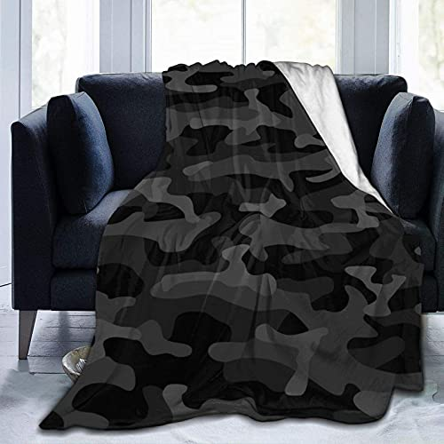 Manta de Felpa Suave Cama Camuflaje Negro Manta Gruesa y Esponjosa Microfibra, Suave, Caliente, Transpirable para Hogar Sofá , Oficina, Viaje