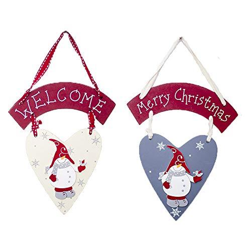 2 Piezas Decoraciones para árboles de Navidad Adornos de Madera para árboles de Navidad Muñeco de Nieve Blanco Muñeco de Nieve Gris Colgante Navideño de Madera Adorno para Puerta de Armario y Ventana