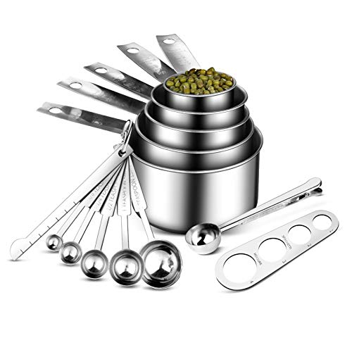 Uarter Stainless Steel Measuring Cups and Spoons Set 13 Pcs5 Measuring Cups 5 Measuring Spoons1 leveler1 Coffee Scoop with Clip 1 Spaghetti Pasta MeasureLiquid Measuring Cup for Dry and Wet Use