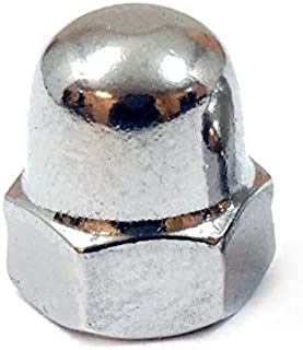(10) M4 x 0.70 Stainless Steel Domed Acorn Cap Hex Nuts, Metric Coarse DIN 1587 High Type, 18-8 (A2) - MonsterBolts (10, M4 x 0.70)