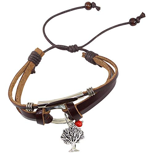Brown leather Handmade Jewelry by Evelyn Brooks Eco-Friendly Gift Fish Charm Bracelet for Women Fish Charm Huayruro Red Seeds