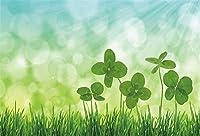 HD 10x7ftグリーン4つ葉のクローバーの背景の写真St Patrickの日の背景春シャムロックサンシャインキッド子供写真ブースシュートビニールスタジオ小道具