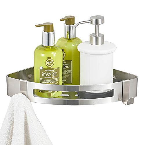 BESy Adhesive Bathroom Shower Corner Shelf Shower Corner Caddy with 2 Hooks, Drill Free with Glue or Wall Mount with Screws,No Damage Stainless Steel 1 Tier Shower Wall Shelves Triangle,Brushed Nickel