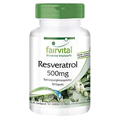 Resveratrol 500mg - Bulk Pack - Vegan - HIGH Dosage - 90 Capsules - from Knotweed Extract
