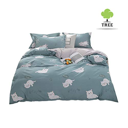 Odot Bedding Set with Duvet Cover by 4 Pieces, Anti-Mite Allergic Defense Zipper, Microfiber Pillowcase, Sheet - Small Fresh (220 * 240cm, White Cat)