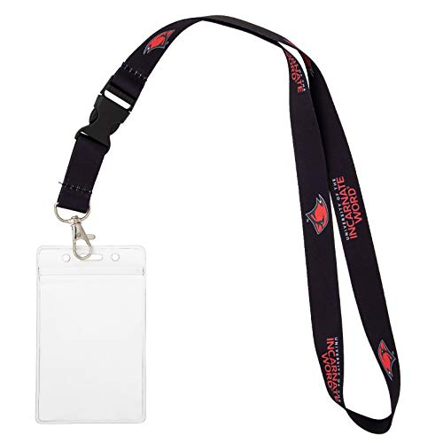University of the Incarnate Word UIW Cardinals Car Keys College ID Badge Holder Lanyard Keychain Detachable Breakaway Snap Buckle (w/ Pouch Black)