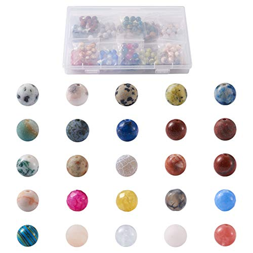 Cheriswelry 250 cuentas de piedra natural de 8 mm, redondas, cuentas de cristal facetado, cuentas espaciadoras sueltas para hacer pulseras de joyería, agujero: 1 mm