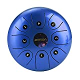 ammoon Steel Tongue Drum 5.5 Inches 8 Notes C-Key Handpan Drum Steel Pocket Drum Percussion Instrument with Mallets Carry Bag for Meditation Yoga Zazen Musical Education-Blue
