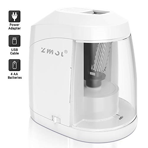 Electric Pencil Sharpener, Durable Helical Blade, Auto Stop for No.2/Colored Pencils(6-8mm), USB/Battery Operated in School Classroom/Office/Home(USB Cable and Ac Adapter Included) (WHITE)