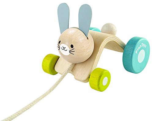 PlanToys Wooden Hopping Rabbit Push and Pull Toy (5701) | Sustainably Made from Rubberwood and Non-Toxic Paints and Dyes