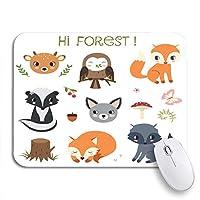ROSECNY 可愛いマウスパッド かわいい森の動物とスカンクの森の友達フォックス自然滑り止めゴムバッキングコンピューターマウスパッドノートブックマウスマット