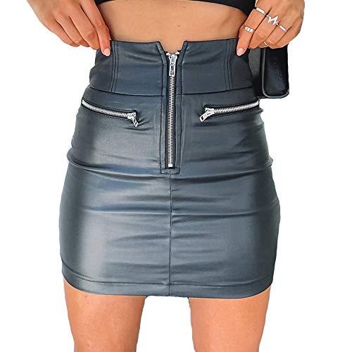 Vanornia Minifalda para Mujer Falda de Cuero Sintético Ajustada de Cintura Alta con Cremallera Casual Sexy Elegante