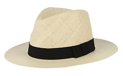 GEMVIE Sombrero de Paja Unisexo Jazz Fedora Panamá ala Ancha Playa Transpirable Circunferencia/58cm Beige