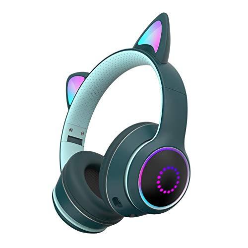 Cuffie per bambini Cat Ear Bluetooth 5.0 Cuffie LED Light Up Over Ear Cuffie Senza Fili Gaming Headset con HIFI Stereo Sound per Bambini Adulti