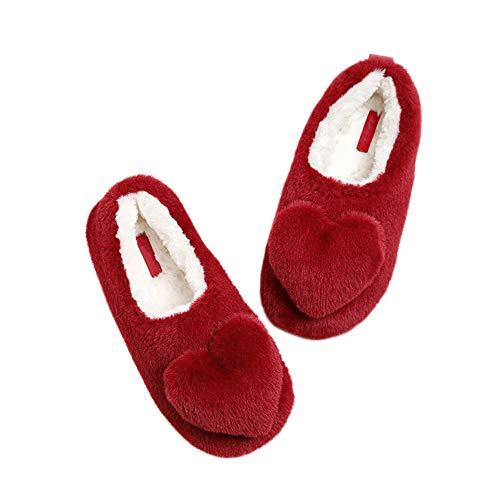 JXILY Suave Slippers imitación Piel Conejo Bolsa Amor Calidez Interior Zapatillas algodón casa Zapatos Antideslizantes Mujer Antideslizante cálido Invierno Pantuflas cómodas,Rojo,38/39 EU