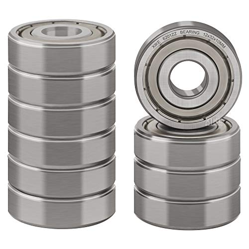 XiKe 10 Pcs 6201ZZ Double Metal Seal Bearings 12x32x10mm, Pre-Lubricated and Stable Performance and Cost Effective, Deep Groove Ball Bearings.