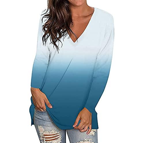 Damen Herbst Tops Langarm V-Ausschnitt Loose Fit T-Shirt Tie Dye Color Block Bluse Top Vintage Basic Pullover Sweatshirt