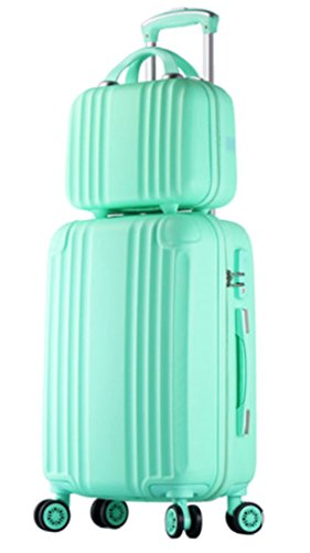 Womens ABS Spinner Luggage Candy Color Hardside Rolling Zipper Suitcase - 20 Inch Green
