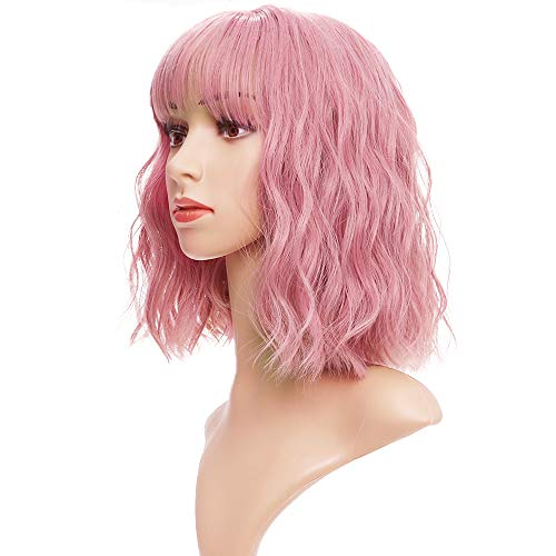 SOPHIRE Pastel Wavy Wig With Air Bangs Women's Short Bob Pink Wig Curly Wavy Shoulder Length Bob Synthetic Cosplay Wig for Girl Colorful Costume Wigs(12',Pink )