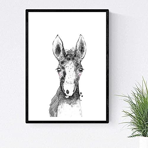LangGe Impresión en Lienzo 60x80cm sin Marco Baby Horse película Infantil en Blanco y Negro póster niños Animales Imprimir decoración Imagen
