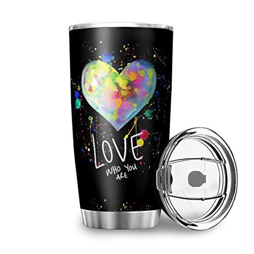 Graffiti Corazón Amor wer du Bist Acero Inoxidable Taza Taza Taza de Doble Pared Aislado Viaje a prueba de fugas Taza de Acero Inoxidable Taza de café Termo Botella de Agua Blanco 600 ml