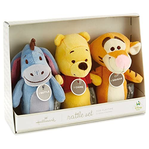 5' Plush Set of Three Winnie The Pooh and Friends Rattle, Chime and SQUEAKS Set- Winnie The Pooh, Eeyore, Tigger