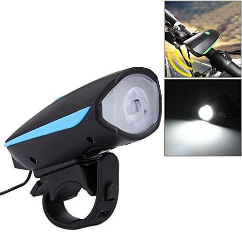 Générique pour vélo Lh 125/250 LM 3 Modes USB Rechargeable lumière LED Lumineuse avec klaxon et Support de Guidon (Orange), Bleu