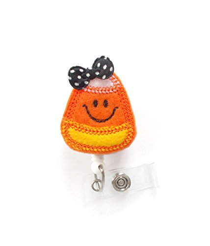 Smiling Candy Corn with Bow - Nurses Badge Holder - Halloween Badge - Nursing Badge Holder - Teacher Badge Reel - Rn Badge