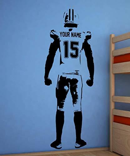 Wandkunst Fußball Wandtattoo Dekor Benutzerdefinierte Jersey Name Und Nummer Vinyl Aufkleber American Football Player Personalisierte Aufkleber 55X150 Cm Schwarz