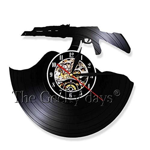 SexyGF Vinyl Wanduhr Shooting Gun Vinyll Clock Arms Gunl Kunstdekoration Handmade Craft Art 3Dl Uhr Kreative Wohnzimmerdekoration 30cm