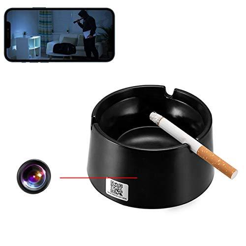 GEQWE Cámaras Espía WiFi Ocultas, 1080P Full HD IP Cenicero Cámara Espía Micro Cámara WiFi Video Doméstico Cámara Inalámbrica Invisible, para Seguridad En Interiores/Oficinas