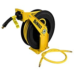 """Auto retracting steel hose reel with premium rubber hose Professional grade all-steel construction with 4-roller hose guide Self-leveling system winds the hose evenly Pull hose to any length due to its 12 position ratchet gearing lock 3/8"""" x 3' lead ..."""