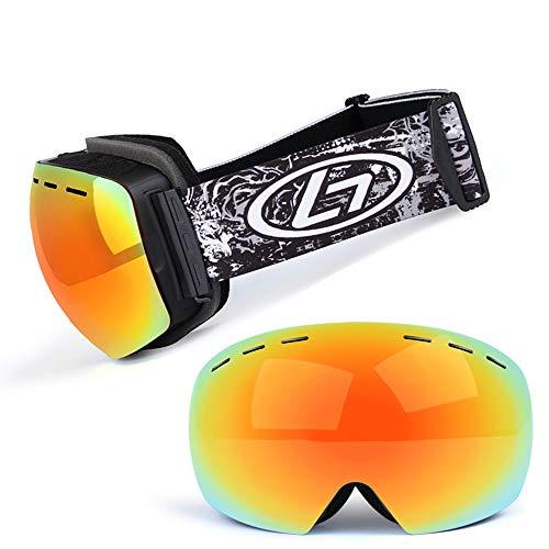 LYY Panoramaschrillen, Skibrillen für Snowboard Jet Snow-Double Anti-Fogg und UV-beständige abnehmbare Linse-Multicolor/Erwachsener,C