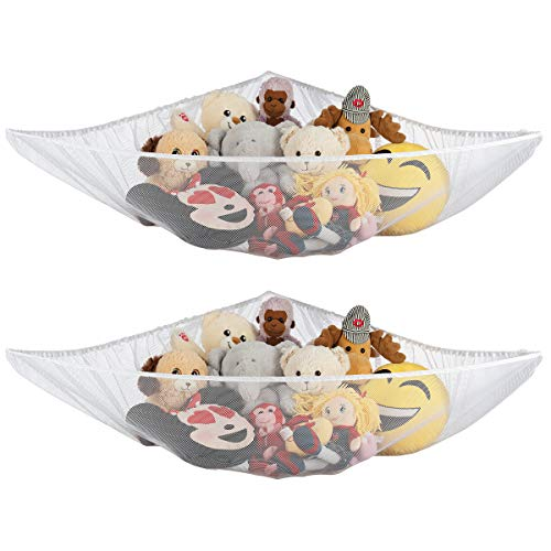 Ziz Home Stuffed Animal Hammock 2 Pack Nursery and Playroom Jumbo Toy Storage Net Organizer for Plush Toys Kids Bedroom Décor RipResistant Stuff Animals Holder with Hanging Hardware White
