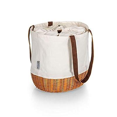 Picnic Time - A Picnic Time Brand 203-00-187-000-0 Coronado Willow Tote Picnic Baskets, Beige Canvas