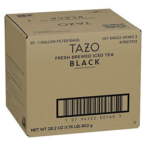 TAZO Black Fresh Brewed Iced Tea Unsweetened Non GMO, 1 gallon, Pack of 20