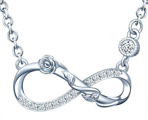 INFINIONLY Collar para mujer, juegos de joyas de plata esterlina 925, collare colgante con símbolo de infinito y rosa, incrustación de zirconia, plata, Regalos de cumpleaños y Navidad