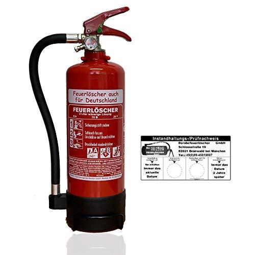 NEU OVP 2 L Schaum Feuerlöscher Auto Fettbrand DIN EN 3 GS 8A 70B (Mit Prüfnachweis u. Jahresmarke)
