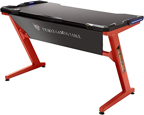 Ficmax Computer Gaming Desk Z Leg Gaming Desk con luz LED Escritorio ergonómico para...