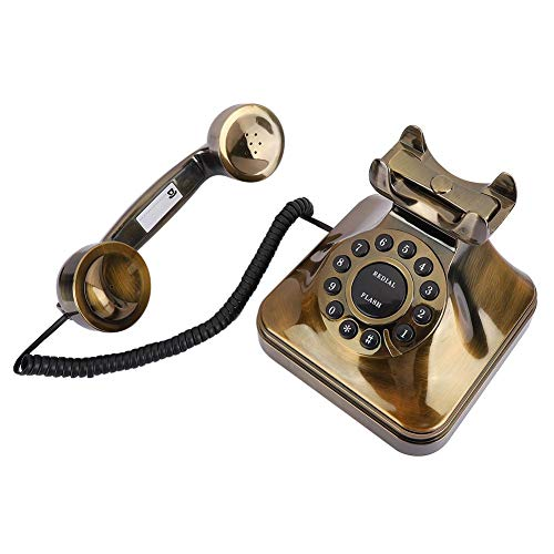 Teléfono de Bronce Antiguo, teléfonos fijos con Cable Retro a la Antigua, teléfono con Cable con reducción de Ruido de tamaño pequeño, teléfono Antiguo Vintage para decoración