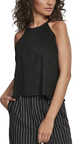 Urban Classics Ladies Peached Rib Neckholder Tank Camiseta Deportiva de Tirantes, Negro (Black 00007), M para Mujer