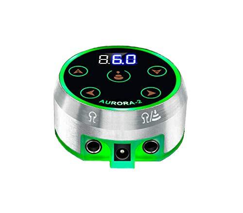Tattoo Power Supply - Aurora II Power Supply 2nd Gen Colorful Voltage Fits All Tattoo Machine (Silver)