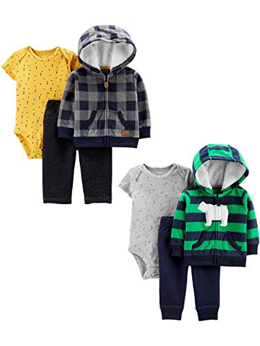Carter's Baby Boys 2-Pack 3-Piece Cardigan Set, Blue Plaid/Bear Stripes, 6 Months