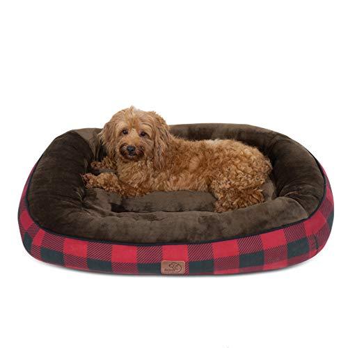 Bedsure Hundebett für kleine Hunde, Hundebetten niederige Ränder mit weiche Füllungen flauschig, auswählbar in Schwarz/Rot, Größe 81x58 cm, 18 cm hoch