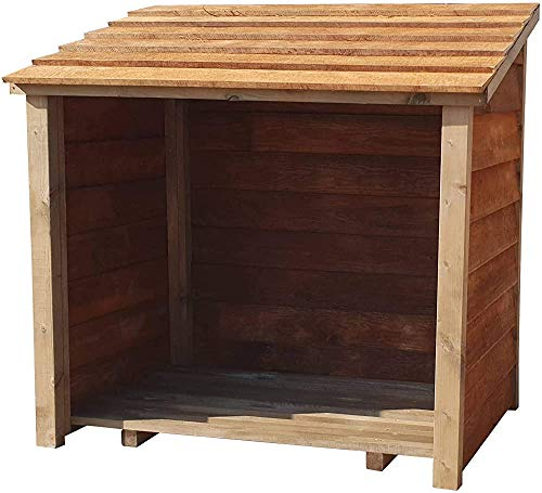 Wooden Log Storage Area Made of Feather Edge Plate,Brown